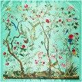 90 cm Nueva Moda Pañuelo Seda de Mujer de Frondosos árboles Flor cuadrado Chino Tradicional de Seda Imitado Bufandas Del Mantón Hijab A371