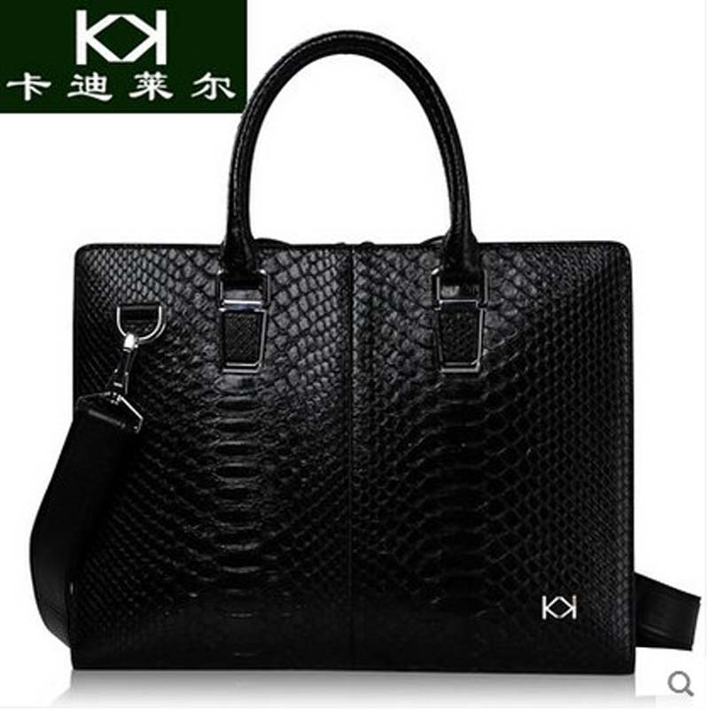 KADILER 2018 new hot free shipping Import python handbag male  really  business package leisure briefcase leather men's bags lipt 2018 mini package bag chain bag small package of the new spring and summer leisure package free shipping