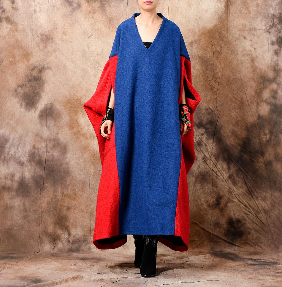 Women Plus SIze Patchwork Gown Dress Ladies Oversize Bat Sleeved Embroidered Robe Dress Female Woollen Big