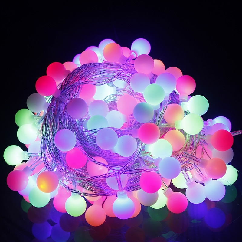 10M Christmas Colorful Lights Strip Tube Ball Fairy Lights Lamp for Tree Vase Holiday Led Light Decoration Party New Year Lamps