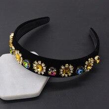 New Bride Tiaras Baroque Crown Luxury Crystal Hairband For Women Red Yellow Rhinestone Headband Hair Accessories Wedding Jewelry