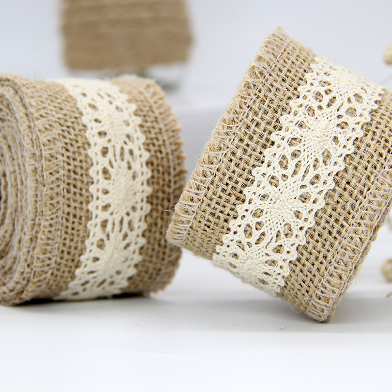 great quality new arrive good texture US $3.29 |2 meters 5cm Jute Hemp Ribbon with Crochet Trim in the Middle DIY  Party Deco Gift Wrap BC23-in Webbing from Home & Garden on AliExpress - ...