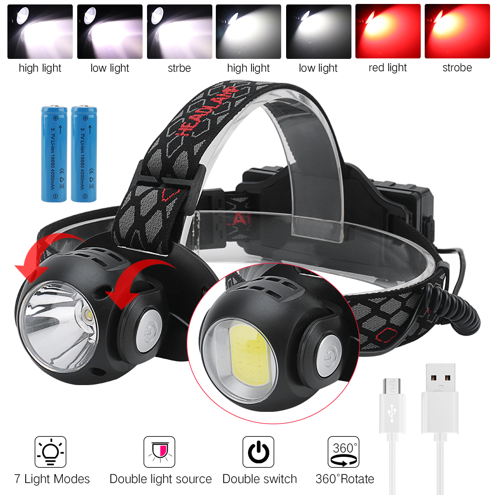 BORUiT T6+COB LED Headlamp 7-Mode With Red Light Headlight USB Rechargeable Head Torch Camping Hunting Flashlight 18650 Battery