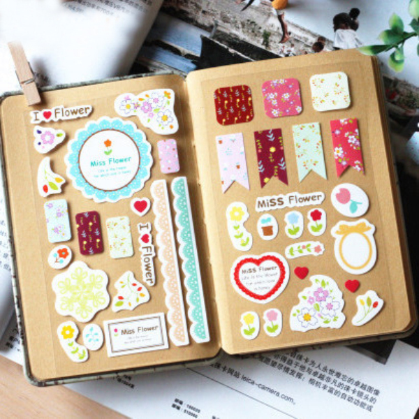 3Sheets/Pack Sweet Lace Paper Decoration Decal Stickers Diy Scrapbooking Sealing Sticker Post It Kawaii Stationery H0343