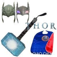 3Pcs/Set Avengers Thor hammer With LED Light Cosplay Mask Superhero Cloak Christmas Props Cape Kids Gift Toy OPP Bag S174