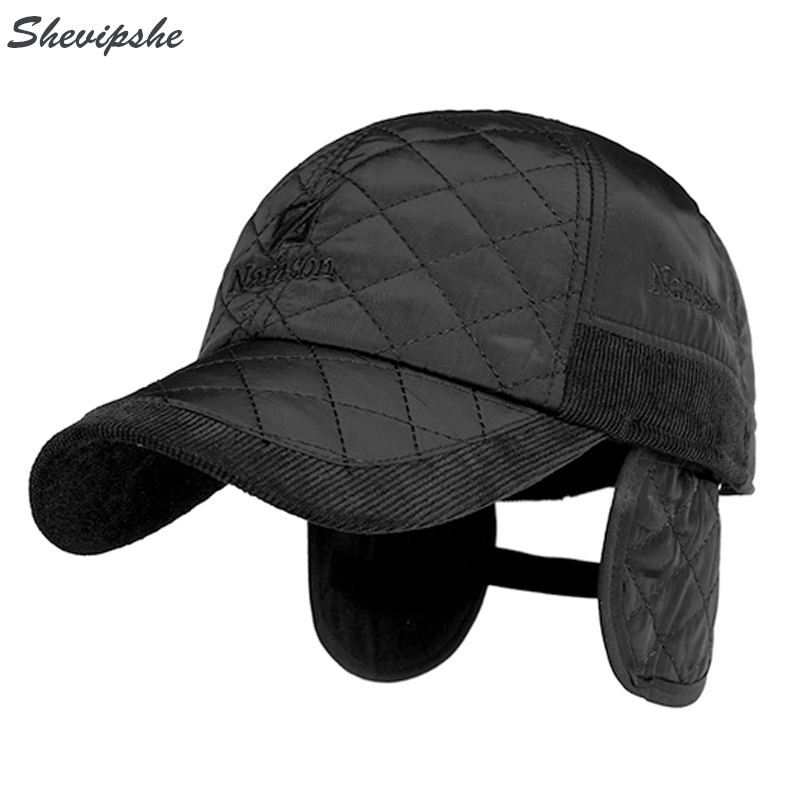 womens baseball cap with ear flaps fleece hat thicken warm font winter mens