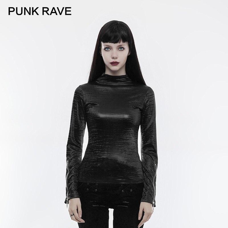 PUNK RAVE 2018 Gothic Light Glossy Printing Texture Zipper Cuff Women T shirt Spring Long Shirt High Collar Primer Warm Top Tees