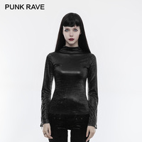 PUNK RAVE 2018 Gothic Light Glossy Printing Texture Zipper Cuff Women T shirt Spring Long Shirt High Collar Primer Warm Top Tees