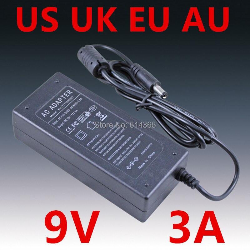 1pcs Adequate power 9V3A AC 100V-240V Converter Adapter DC 9V 3A 3000mA Power Supply DC 5.5mm x 2.1mm Charger Free shipping