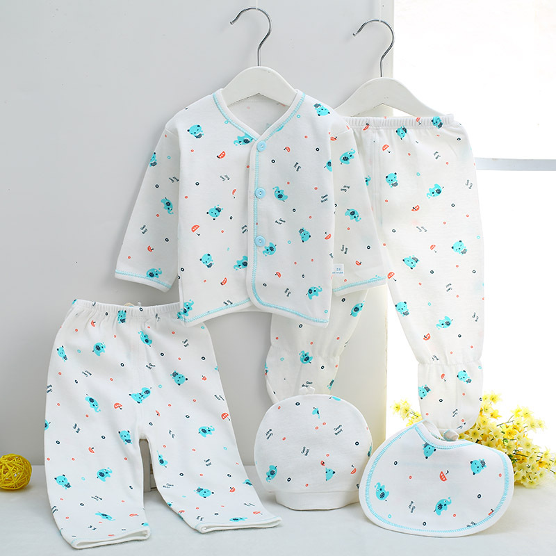 Soft cotton Newborn Clothing cartoon elephant Baby boy Girl Clothes 5pcs/Set Baby tops pant Hat For 0-3M infant underwear hhtu 2017 new infant baby girl boys sleep clothing set children cute cartoon pajamas suit newborn kids soft cotton underwear