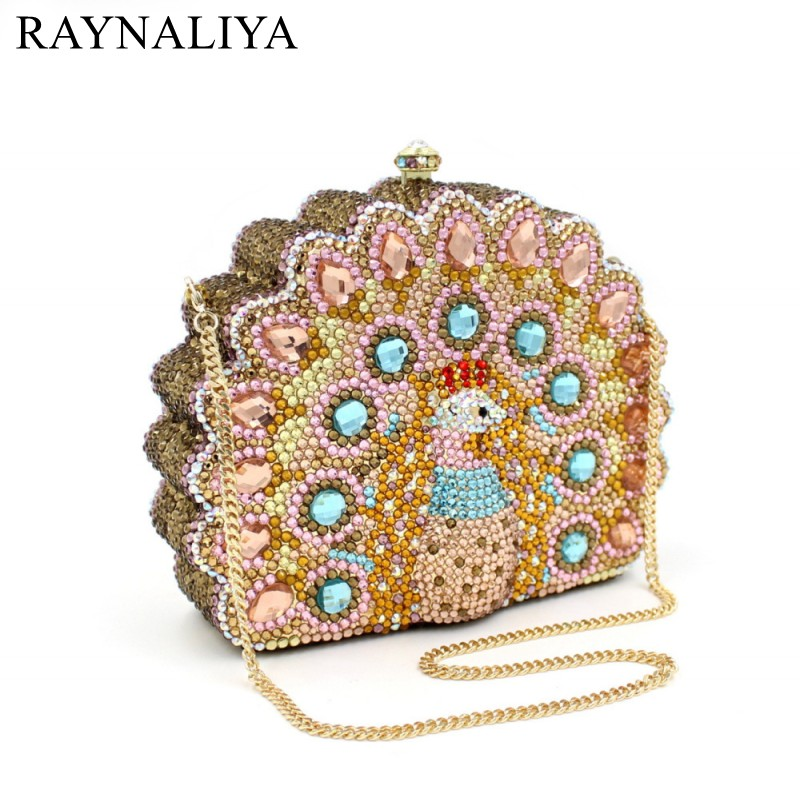 Lady Peacock Shape Fashion Women Party Day Clutches Box Purse Crystal Evening Bags Female Gold Wedding Design SMYZH-F0219 fashion lady with glasses white acrylic women metal box clutches evening party totes handbag purse casual shoulder crossbody bag