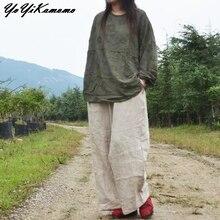 YoYiKamomo, хлопковая льняная женская рубашка,, макси, осень, весна,, жаккард, тонкая, с длинным рукавом, блузка, короткая, свободная, женские топы