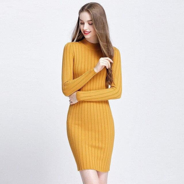 4b9574c7dba MLXSLKY 2018 winter new women s knit sweater dress round neck long sleeve  solid color womens sweater dress