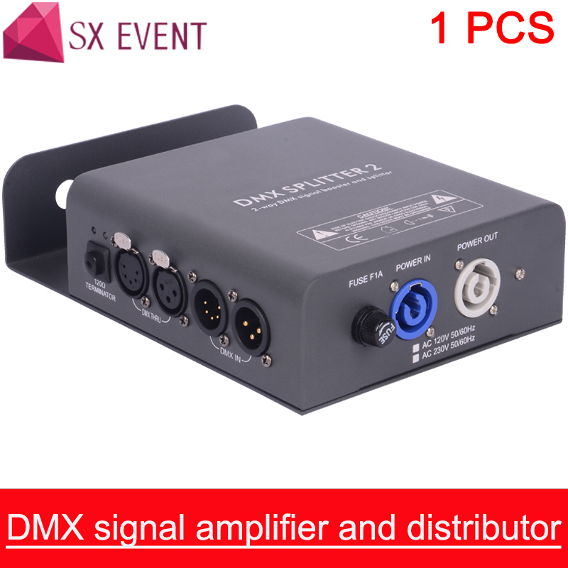DMX signal amplifier and distributor 1 input to 2 outputs plus DMX Thru DMX Input: 3pin 5pin XLR In DMX Thru: 3pin  5pin XLR OutDMX signal amplifier and distributor 1 input to 2 outputs plus DMX Thru DMX Input: 3pin 5pin XLR In DMX Thru: 3pin  5pin XLR Out