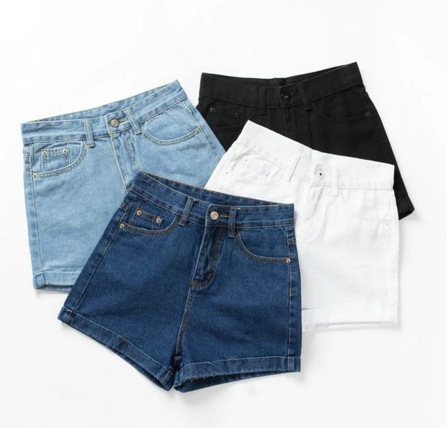 2016 summer 4colors fashion women's high waist denim shorts AA High waist jean cuff shorts hemming denim large size shorts