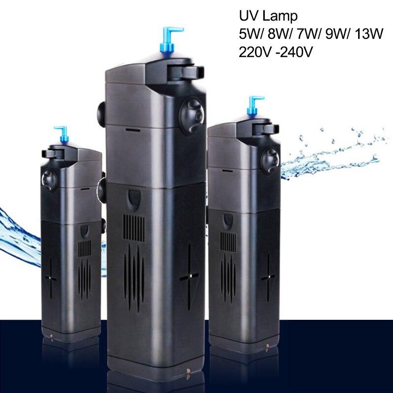 220V Aquarium réservoir filtre 5/8/9/13W pompe Aquarium lampe UV stérilisation stérilisateur de circulation d'eau filtres UV accessoires