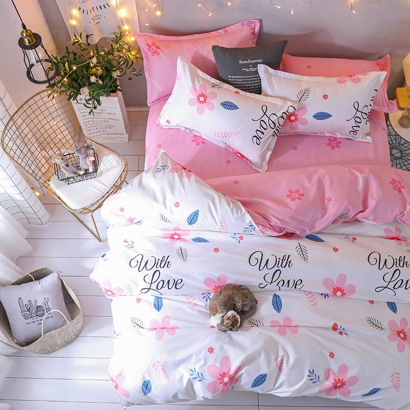 With Love Print White and Pink Bed Sheet Set Duvet Cover Bed Sheets And Pillowcases Comforter Bedding Set