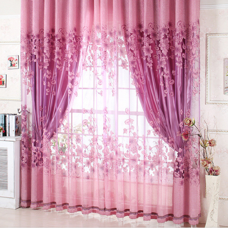Beauty New Home door curtains home decor Sheer Curtain Panel Drape Floral Window Balcony Room high quality free shipping-in Curtains from Home u0026 Garden on ... & Beauty New Home door curtains home decor Sheer Curtain Panel Drape ...