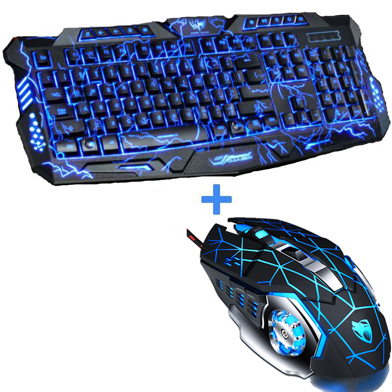 New Red/Purple/Blue Led Backlight USB Wired Laptop PC Pro Gaming Keyboard Mouse Combo for LOL Dota 2 Gamer Keyboard Mouse Combo Мотоцикл
