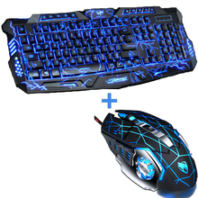 New Red/Purple/Blue Led Backlight USB Wired Laptop PC Pro Gaming Keyboard Mouse Combo for LOL Dota 2 Gamer