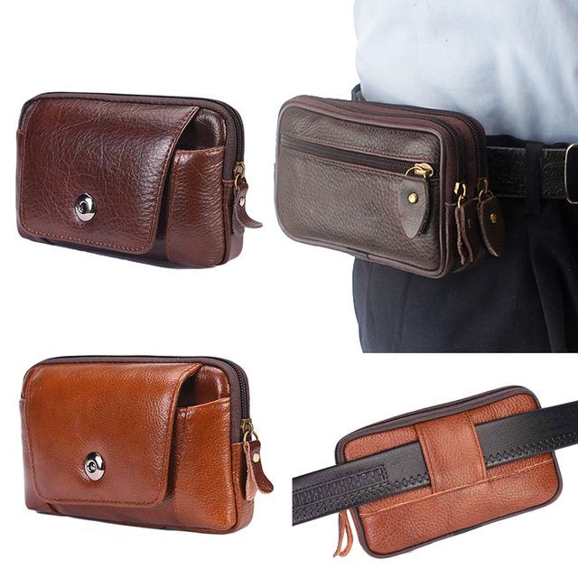 18656d79a Men Business PU Leather Waist Packs Portable Small Fanny Pack Casual  Waterproof Travel Belt Bag Mini Phone Pouch Bags