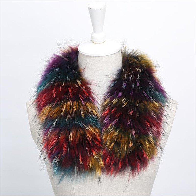 Real Raccoon Fur Collar Womens 100% Natural Fur Gray Collar Real Fur Shawl Raccoon Collar Fur Scraves 70-80cm