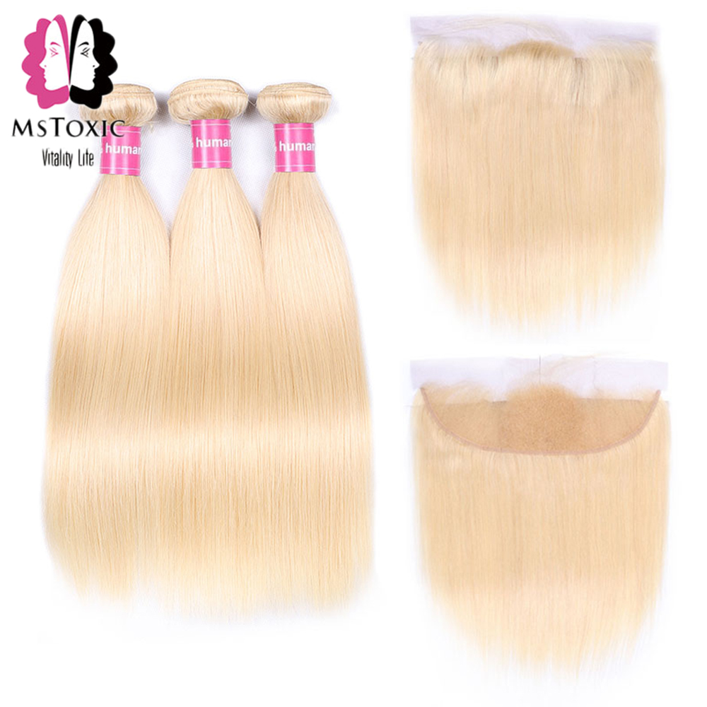 MsToxic 613 Blonde Bundles With Frontal Straight Hair Bundles With Frontal Remy Russian Blonde Human Hair