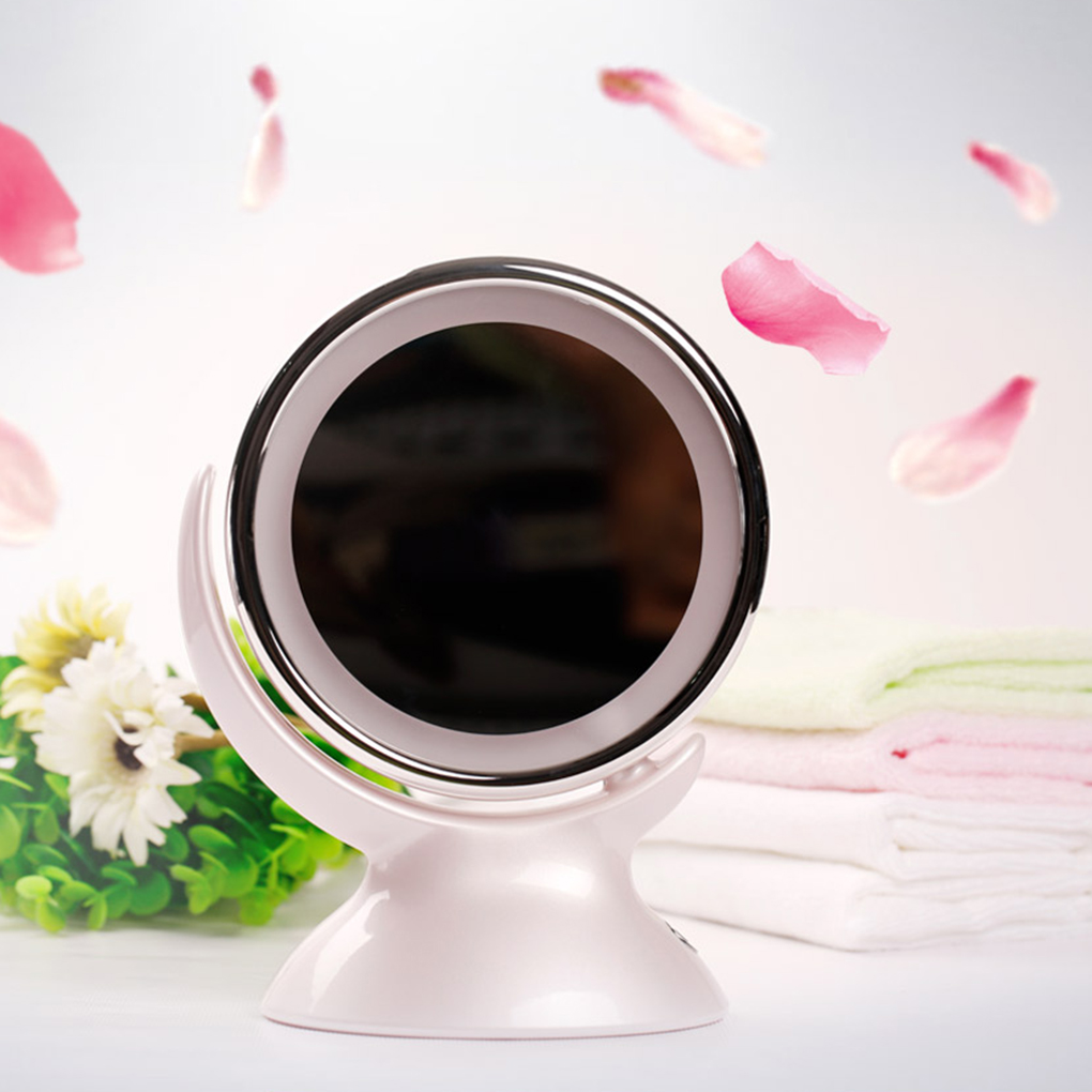 NEW 5 Magnification LED Beauty Double Face Rotation Fill Light Make Up Vanity Cosmetic Desk Table Pocket Mirror
