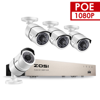 ZOSI 4CH 1080P POE CCTV System NVR Kit 4PCS 2MP Vandalproof Waterproof Bullet Outdoor IP Camera
