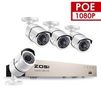 ZOSI 4CH 1080 P POE CCTV системы NVR комплект 4 шт. 2MP Антивандальная водостойкая Пуля Открытый IP камера P2P безопасность Onvif POE DIY Kit