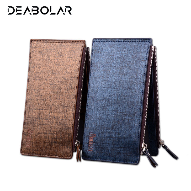 2017 Hot Style Fashion Slim Thin Gold Blue Zip Hasp Brand Leather Wallet Card ID Holder Purse Men Clutch with Phone Pocket smirnoff slim genuine leather wallet case hand made custom name hasp simple style mens wallet super thin card purse mini wallet