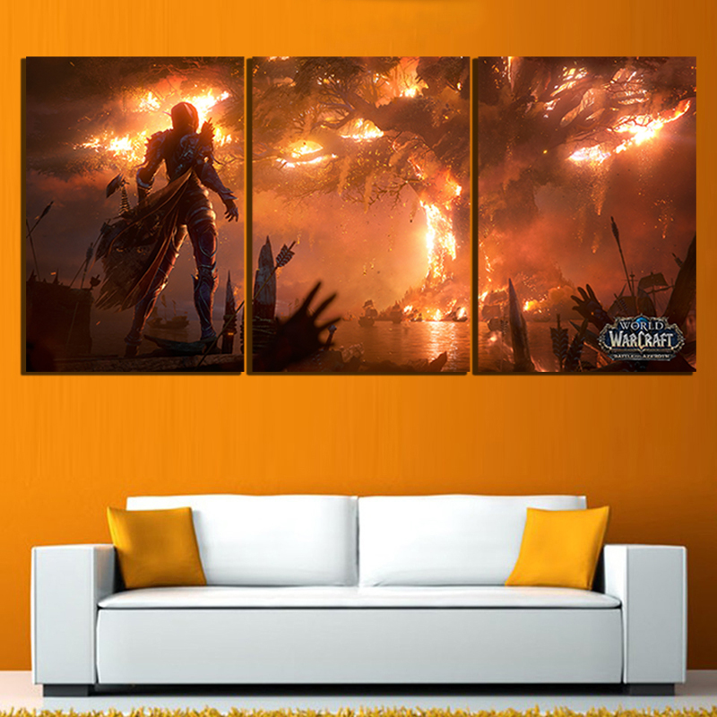 World of Warcraft Canvas Painting Sylvanas Fire Burning Teldrassil Game Poster Print Fan Art Wall Decor Playroom Picture 2