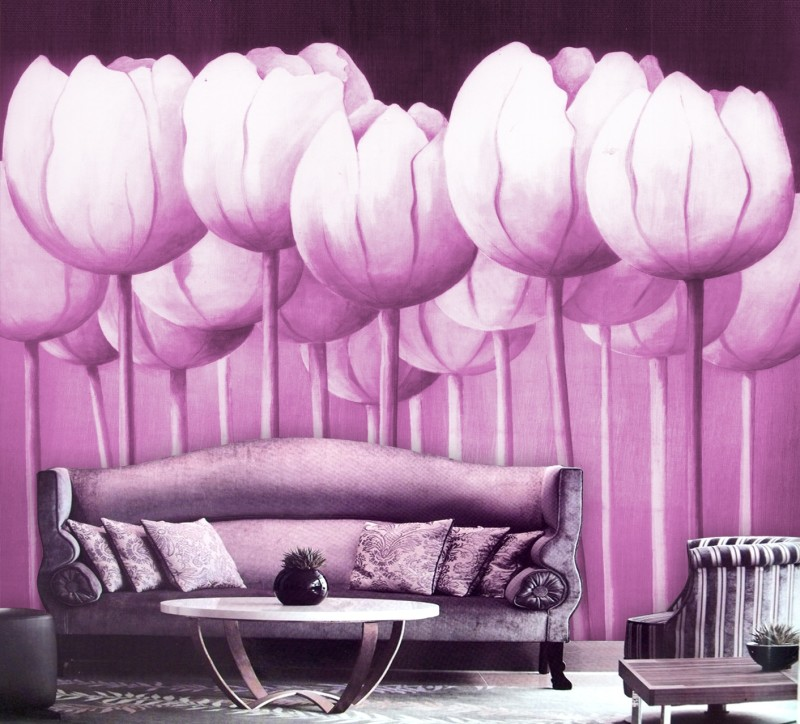Fancy design!Hign quality sofa purple rose design background 3d ...