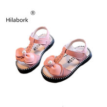 Hilabork 2018 Summer New 0-1 Baby Girl Sandals High-quality Microfiber  Leather Fashion Bow Sandals Pearl Hollow Soft sandals 90fb93168618