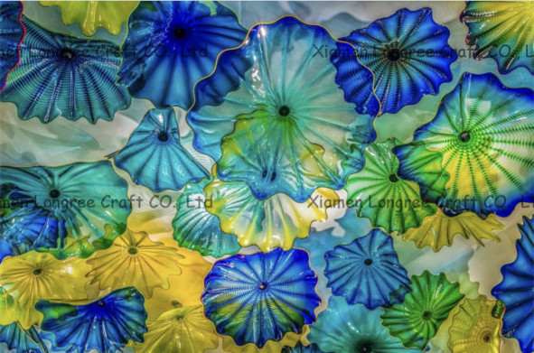 Fireplace Wall Decoration Flower Art Chihuly Style Mounth Blown Murano Glass Plates christmas tree fireplace print tapestry wall hanging art
