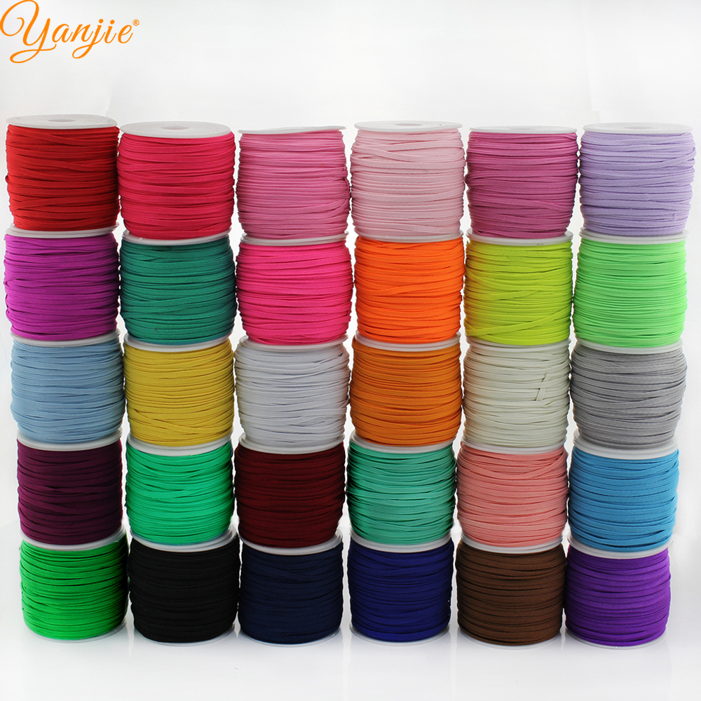30rolls 30colors50 Yards roll 3mm width 1 8 Skinny Elastic for headband Hair Accessories Free Shipping