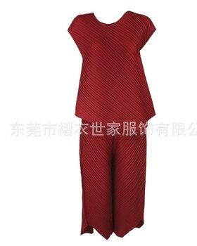 HOT SELLING Miyake  suit fold short sleeve irregularT-shirt + nine points wide-legged pants irregular two-piece outfit IN STOCK