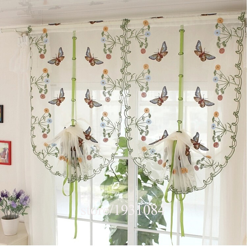Rustic Butterfly Over Flowers Design Curtain Liftable