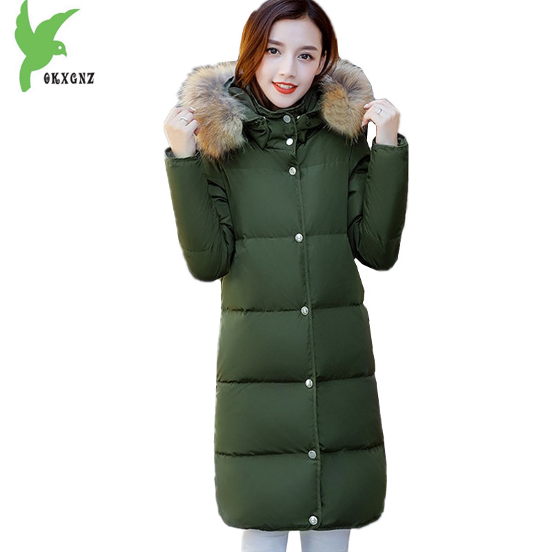 Boutique Women Winter Down cotton Jacket Coats Plus size 5XL Warm Parkas Hooded Fur collar Jacket Medium length Coats OKXGNZ1219 winter jacket female parkas hooded fur collar long down cotton jacket thicken warm cotton padded women coat plus size 3xl k450