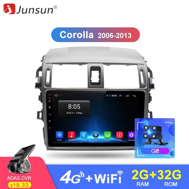 Junsun Штатное Головное устройство For тойота королла E140/150 2007 2008 2009 2010 2011 2012 2013 GPS навигатор Android 8.1 aвтомагнитола магнитола 2din автомагнитолы Андроид для Toyota Corolla автомобильная ультимедиа