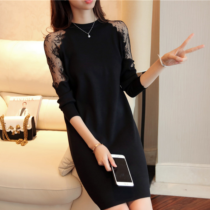 Fashion 2018 Women Autumn Winter Sweater Dresses Slim O-neck Sexy Lace Patchwork Bodycon Solid Color Robe Knitted Dress nyx professional makeup профессиональная кисть для нанесения пудр и румян двойная текстура pro brush dual fiber pwdr 08