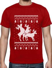 Shirt Maker  O-Neck Ugly Christmas Party Sweater Humping Reindeer Funny Gift Short Sleeve Compression T Shirts For Men