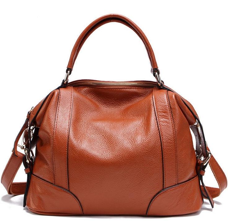 ФОТО Fashion Women Handbags 100% Genuine Leather Casual Tote Female Shoulder Bags New Arrive Solid Zipper Messenger Bags