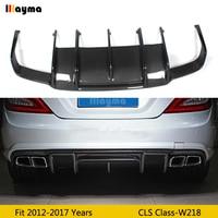 Renntech Style Carbon Fiber Rear Bumper Lip Diffuser for Mearcedes Benz W218 CLS350 CLS63 AMG Sport Bumper 2011 2014 year