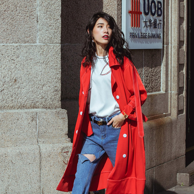 Best Cheerart British Style Long Trench Coat Women Red Loose Autumn  SP45