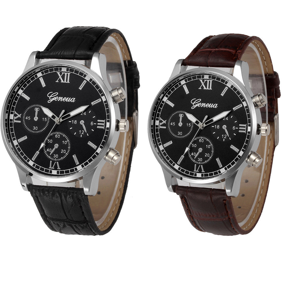 Retro Design Male Leather Band Analog Quartz Wrist Watch
