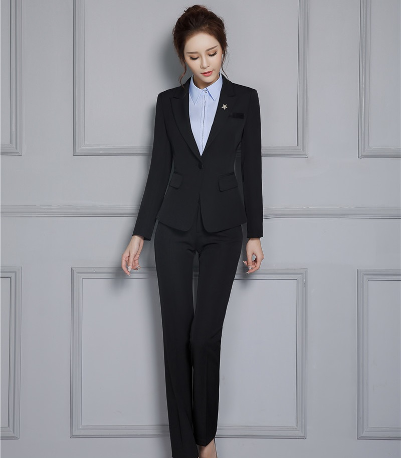 Novelty Black Formal Pantsuits With Jackets And Pants Autumn Winter Professional Ladies Trousers Sets Womens Blazers Outfits