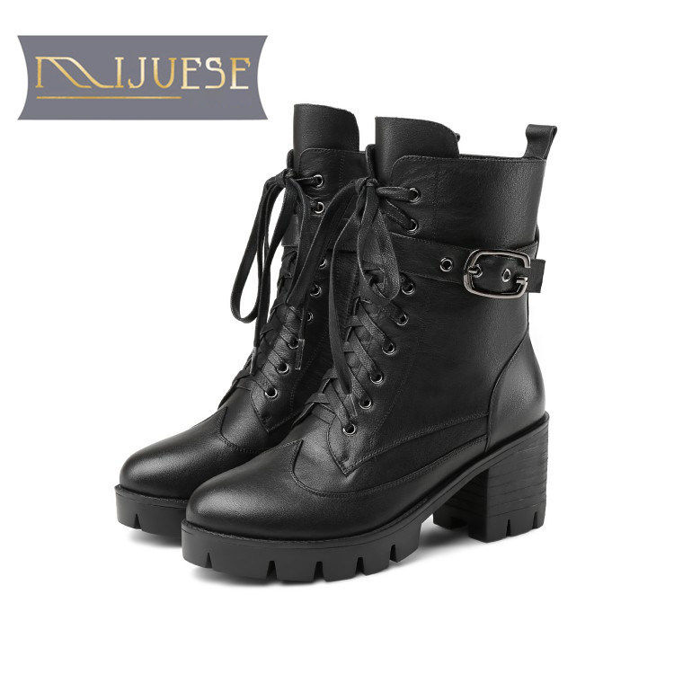 6dee2e7ff6ec4 MLJUESE 2019 women ankle boots cow leather winter warm fur buckle strap  female riding boots women martin boots size 34-40
