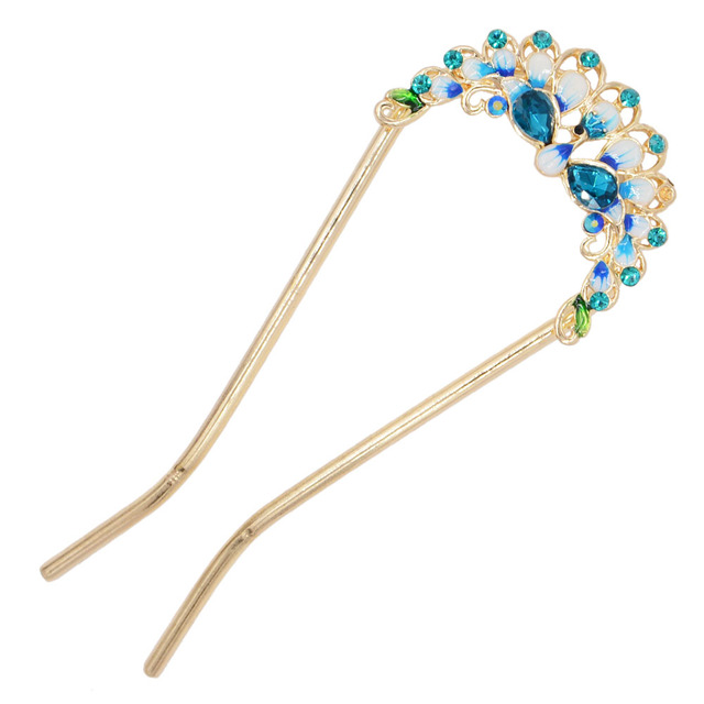 Enamel Peacock Hair Sticks...