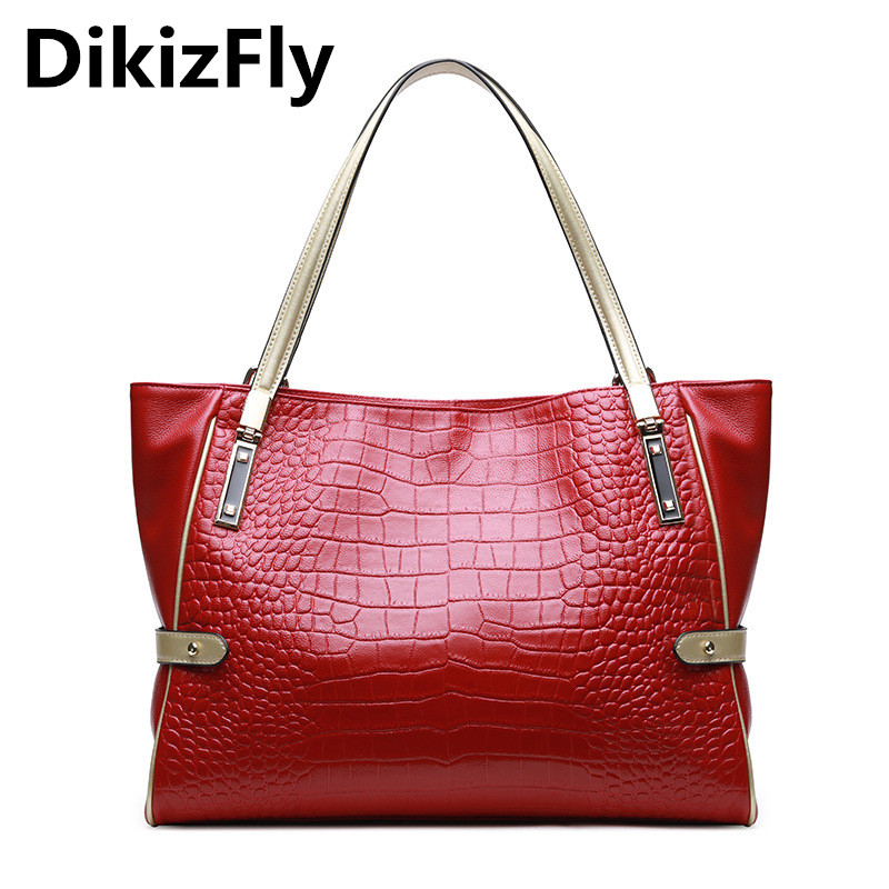 DikizFly Brand New Women Bags Genuine Leather Ladies Handbags Fashion Aliigator Top-Handle Bags Totes bag Women Shoulder Bag